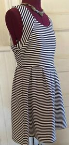 Boutique Ya Los Angeles Fit & Flare Dress Large White Navy Blue Stripe NWT