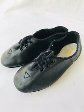 BLOCH Childrens Black Leather Lace Up Size 8 Rubber Sole Jazz Shoes Near New