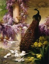 ART DECO PEACOCK FEATHERS PURPLE WISTERIA DOVES POND GARDEN CANVAS PRINT BIG