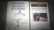 Lot de 2 livres sur les droits de l'homme amnesty international