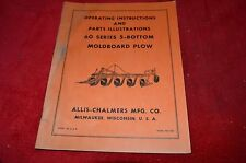 Allis Chalmers 60 Series 5 Bottom Plow Operator's Manual Parts Book HMPA