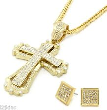 Mens Large Hollow Cross Gold Iced Out Pendant 36 Inch Necklace Franco Chain G09