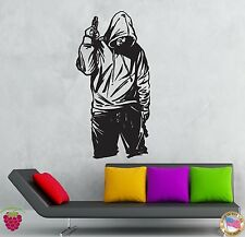 Wall Stickers Vinyl Decal Gangster In Hood With Gun Stree Tough Decor  (z2121)