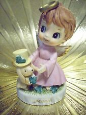 VTG March St Patricks Birth day Irish Girl Angel Puppy Dog Figurine
