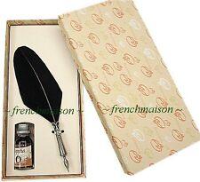Bortoletti Fine FEATHER QUILL PEN + INK Black Writer Gift Box HANDMADE ITALIAN