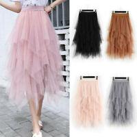 Ladies High Waist Ruffle Mesh Tutu Maxi Skirt Sheer Net Tulle Pleated Long Dress