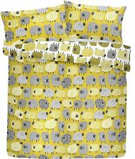 Dotty Sheep Duvet Cover Reversible Bedding Set Ochre/Mustard Single Double King