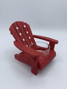 Yankee Candle Red w/ White Stars Adirondack Chair Tea Light Lite