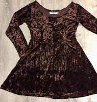Vintage Retro Brown Crushed Velvet Flare Hem Stretch Dress Size Medium