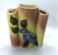 Vintage Majolica Triple Vase with Applied Purple Rose Flowers Wall Pocket