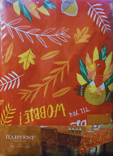 THANKSGIVING TABLECLOTH VINYL TURKEY LEAVES ORANGE GREEN BROWN 60 x 84 RECT.