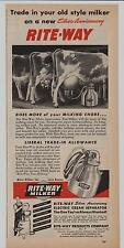 Rite-Way Milker 1947 Mag Ad ~ Dairy ~ Guernsey Cows Being Milked