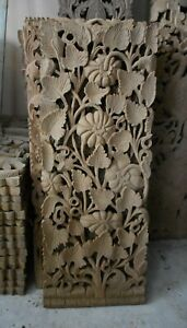 """Redefine your home with 14"""" x 35"""" Luxury fretwork, hand-carved teak wall panel"""