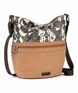 NWT SAKROOTS mocha khaki Brown Artist Circle Bucket / Crossbody shoulder bag