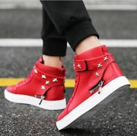 Men Round Toe Lace Up High Top Skateboard Hip-Hop Casual Shoes Fashion Sneakers