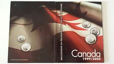 CANADA 1999 2000 MILLENNIUM 25 CENT UNC COINS in FOLDER complete 2 Set (NO TAX)