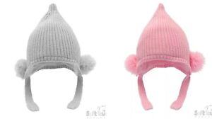 Baby Strick gerippter doppelter Bommel Fell Hüte nb-12 Monate