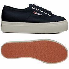 Zapatos Superga Mujer 2790 Plataforma Cuña Interior Hasta Y Down Azul Marino 933