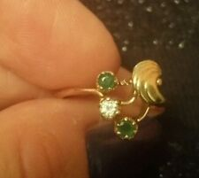 14 k gold ring emeralds and diamond. Size M.