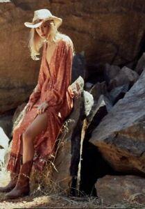 Arizona Rust Flamenco Frill Wrap Maxi Dress S/M