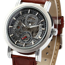 Classic Men's Skeleton Dial Date Leather Army Automatic Mechanical Wrist Watch