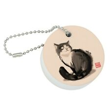 Cat Traditional Chinese Ink Painting Round Floating Foam Boat Keychain