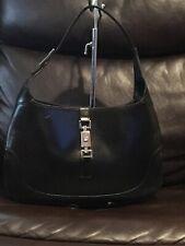 Authentic Black Leather Gucci Jackie Shoulder Bag #001-3306- 2684