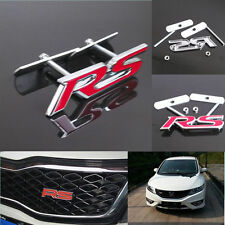 New Red RS grill badge Logo Decoration 3D Metal Front Grille Grill Badge Emblem