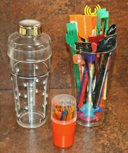 Collection of vintage cocktail swizzle sticks shaker and container