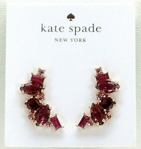 Kate Spade New York Cluster Crawler Earrings Berry Multi Crystal Goldtone New!