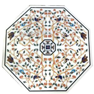 36 x 36 Inches Octagon Hotel Table Top White Dining Table with Marquetry Art