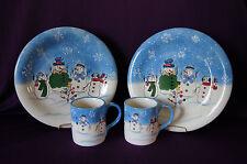 Button Up 4 piece set 2 dinner plates 2 mugs Sonoma snowman winter china EUC