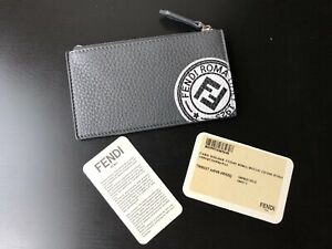 NEW Authentic Fendi Roman Leather Zipper Coin Card Case Holder Wallet Gray $450