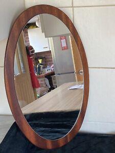 Oval MCM Solid Teak Mirror 57cm High