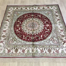 YILONG 5'x5' Square Handmade Silk Carpet Medallion Home Decor Area Rug L102C
