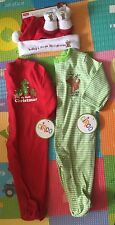 Carter's Baby's 1st Christmas One Piece Footie 3M Lot Booties Santa Hat Set 0-6M
