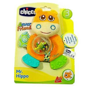 Chicco Mr. Hippo Baby Kid Toddler Rattle Crinkle Squeaky Crib Stroller Bed Toy