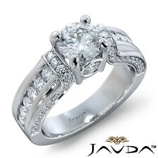 2.97ctw Bezel Channel Set Sidestone Round Diamond Engagement Ring Gia G-Vs1 Gold