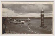 Dorset CARTE POSTALE - Horloge Tour et Kiosque à musique,Weymouth - P/U 1951