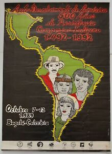 Original 1989 Poster For 500th Anniversary Of South American Native Resistance