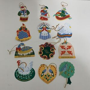 Avon Twelve 12 Days of Christmas Metal Ornaments Complete Set Double Sided