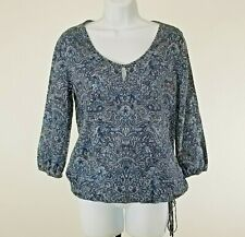 Lucky Brand Women's Blue Paisley Bottom Tie Small Blouse