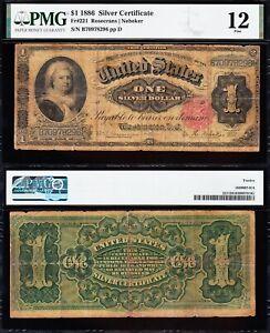 "Fine Graded 1886 $1 Ornate Back ""MARTHA"" Silver Cert.! PMG 12! FREE SHIP! 78296"