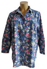 NEU Übergröße Damen Jeans Langarm Bluse in floralem Druckde Gr.48,52,54,56,58,60