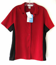 Il Migliore Bowling Concepts Womens Shirt Red Black Button Size Large Cool NWT