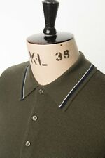 Art Gallery Clothing - Knitted Polo - GREEN M Mod Sixties