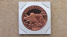 """Dinasaur - Triceratops"" copper round series - 1 ADVP oz. .999 Fine copper"
