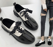 Women Round Toe Lace Up Faux Leather PU Casual Autumn Student Loafer Party Heels
