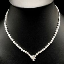 GENUINE 4.00TCW TENNIS G/VS DIAMOND 18K SOLID WHITE GOLD NECKLACE CLEAN NATURAL