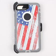 For iPhone 7 Plus USA Flag Camo Case Cover (Belt Clip Fits Otterbox Defender)